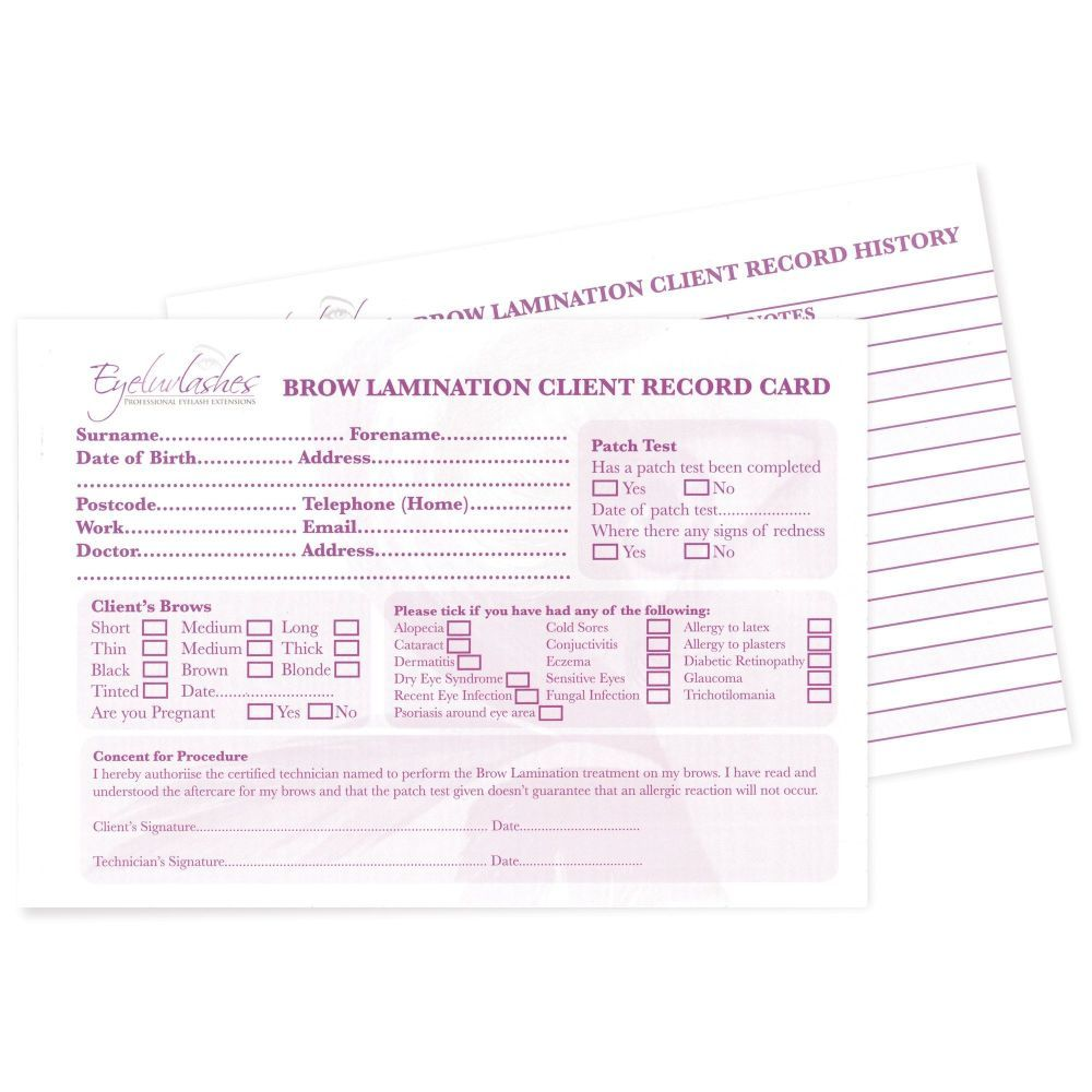 Client Record History Cards for Brow Lamination