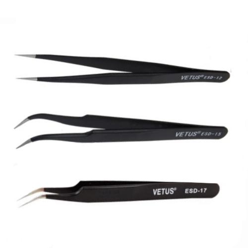 Tweezers ESD-12 ESD-15 ESD-17 (Vetus) Set for Eyelash Extensions (Black Vet
