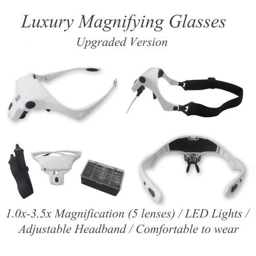 Magnifying Glasses / Upgraded Version / White / LED / Headband / 5 Lens (1.