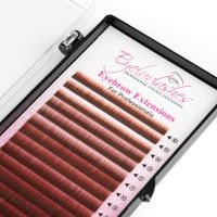 Eyebrow Extension Tray, Red Brown, Mix Lengths 4-8mm