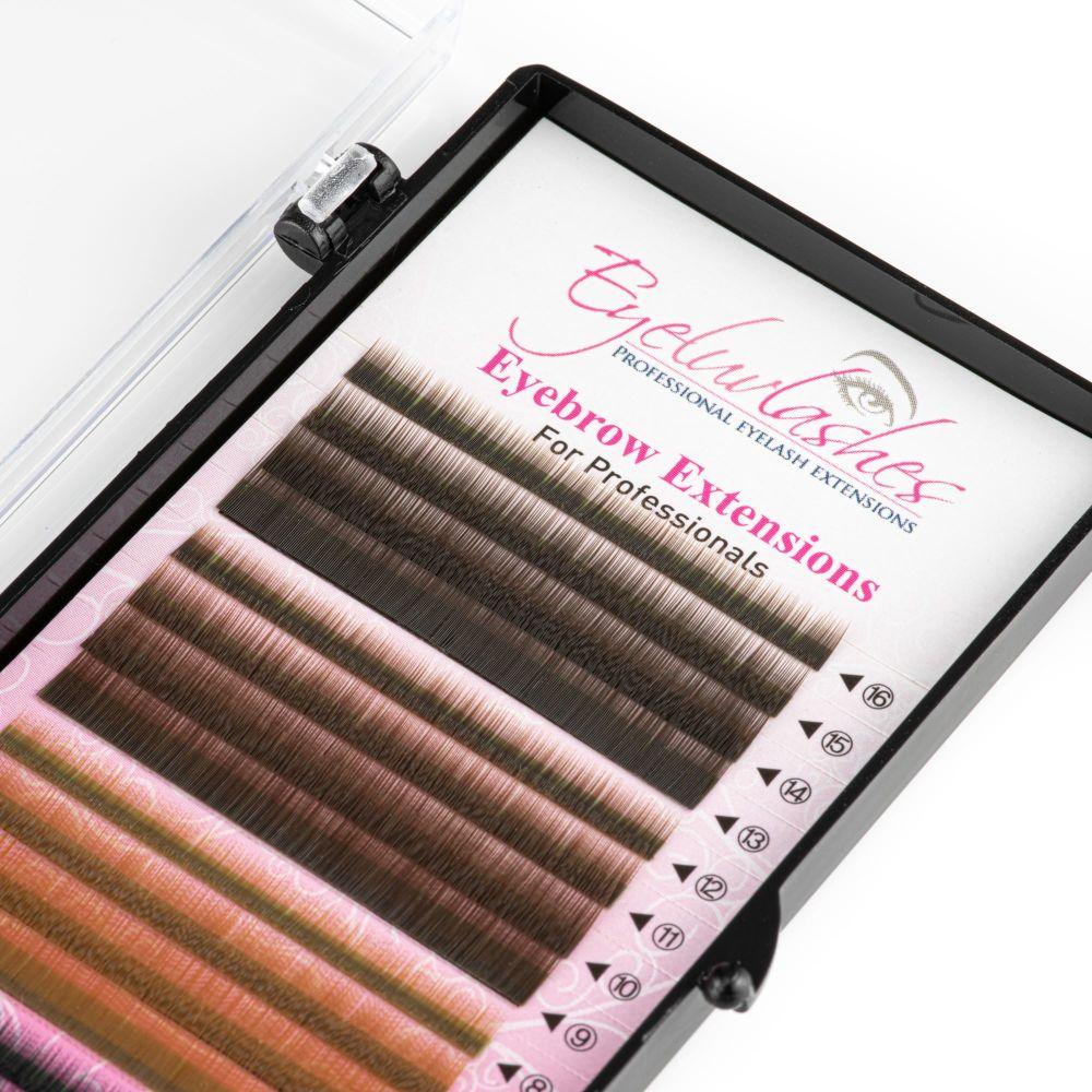 Eyebrow Extension Tray, 4 Colour Mix Dark Brown/Medium Brown/Light Brown/Bl