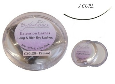 J Curl 0.20mm Thickness / 16mm Length Individual Eyelash 1 Gram Pot