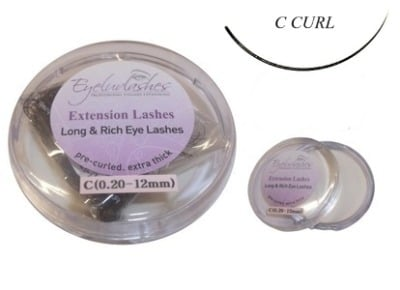 C Curl 0.10mm Thickness / 10mm Length Individual Eyelash 1 Gram Pot
