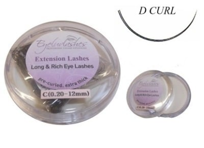 D Curl 0.20mm Thickness / 14mm Length Individual Eyelash 1 Gram Pot