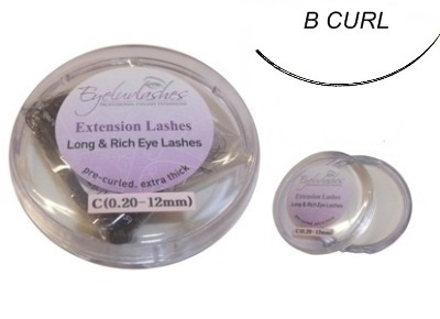 B Curl 0.10mm Thickness / 16mm Length Individual Eyelash 1 Gram Pot
