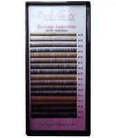 Eyebrow Extension Tray, 4 Colour Mix Black, Dark Brown, Brown & Light Brown, 0.15mm Thickness, Lengths 4-7mm