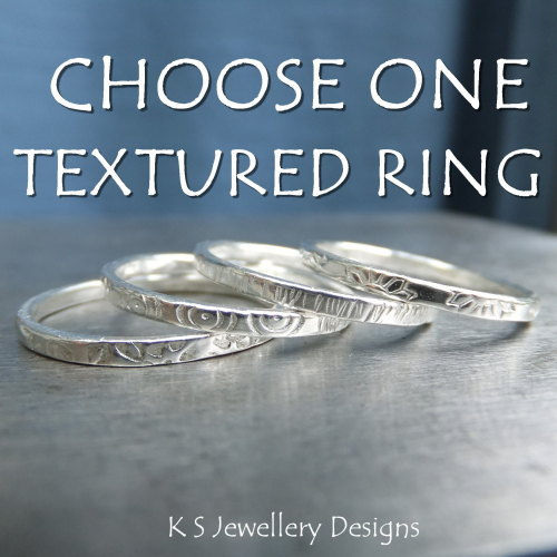 ONE Textured Fine Silver Stacking Ring ~ Leaves, Circles, Stripes or Daisie