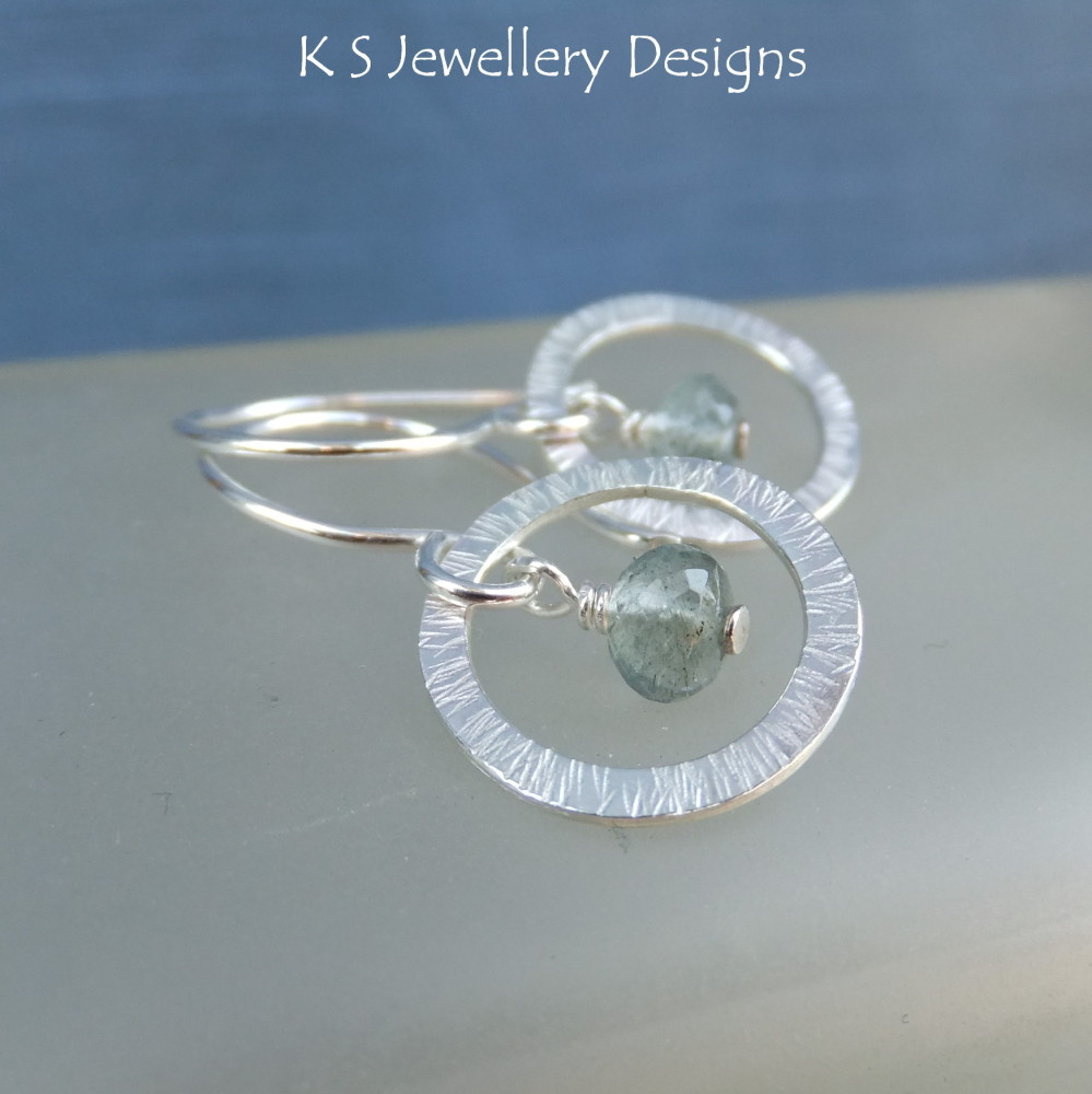 Moss Aquamarine Sterling Silver Textured Circles Earrings