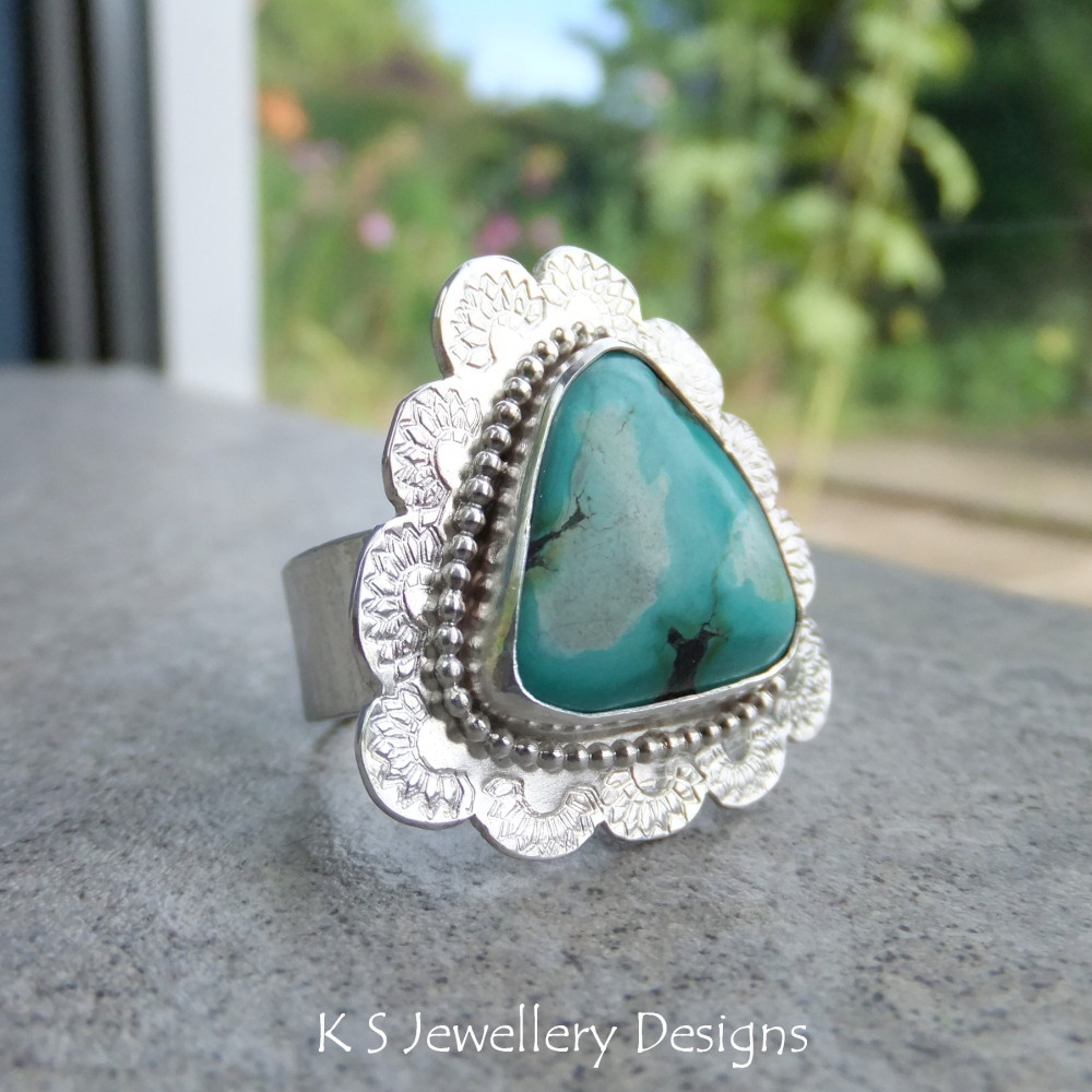 Turquoise Fancy Bezel Sterling Silver Ring