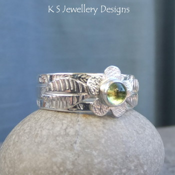 Peridot Flower and Leaves Sterling & Fine Silver Ring Trio (UK size M1/2/ US size 6.5)