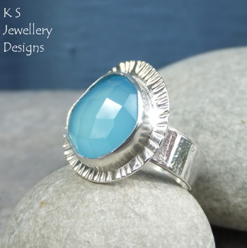 Blue chalcedony ring 2