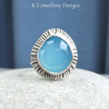 Blue chalcedony ring 6