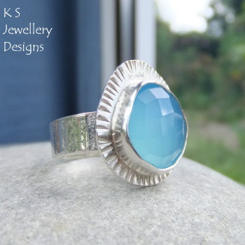 Blue chalcedony ring 5