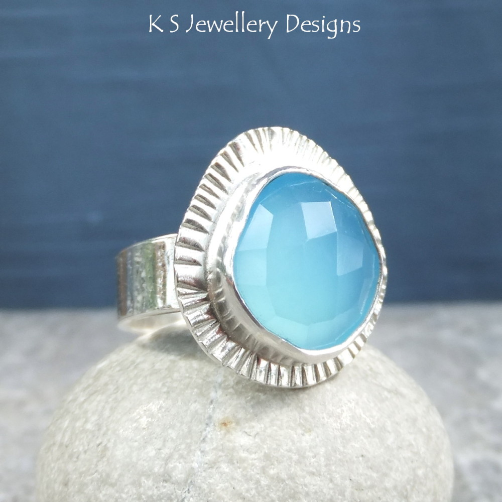 Blue Chalcedony Sterling Silver Pie Crust Ring
