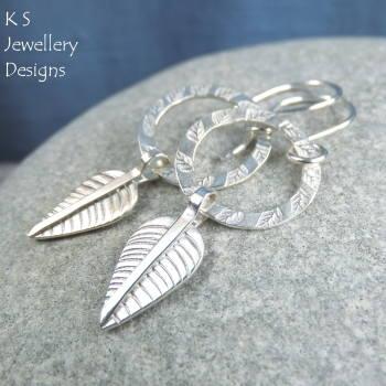 Leaf charm circle earrings 6
