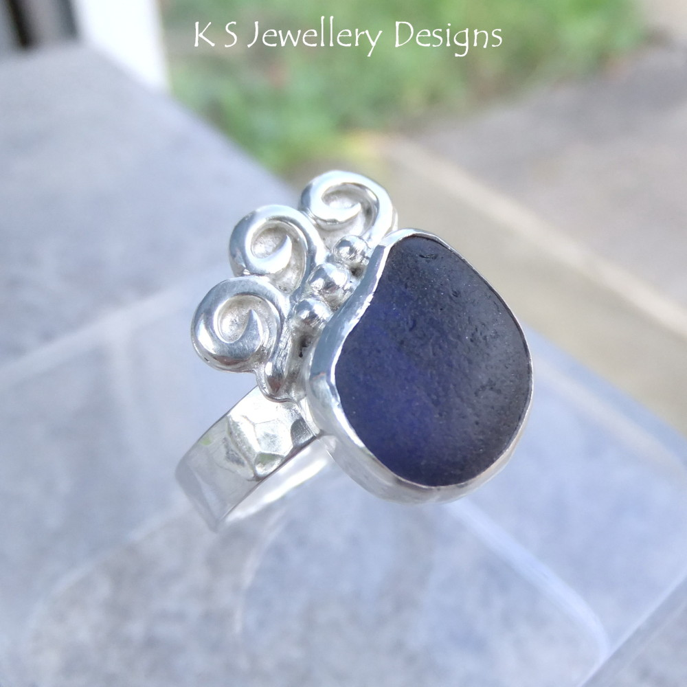 Blue Waves - Sterling Silver Sea Glass Ring