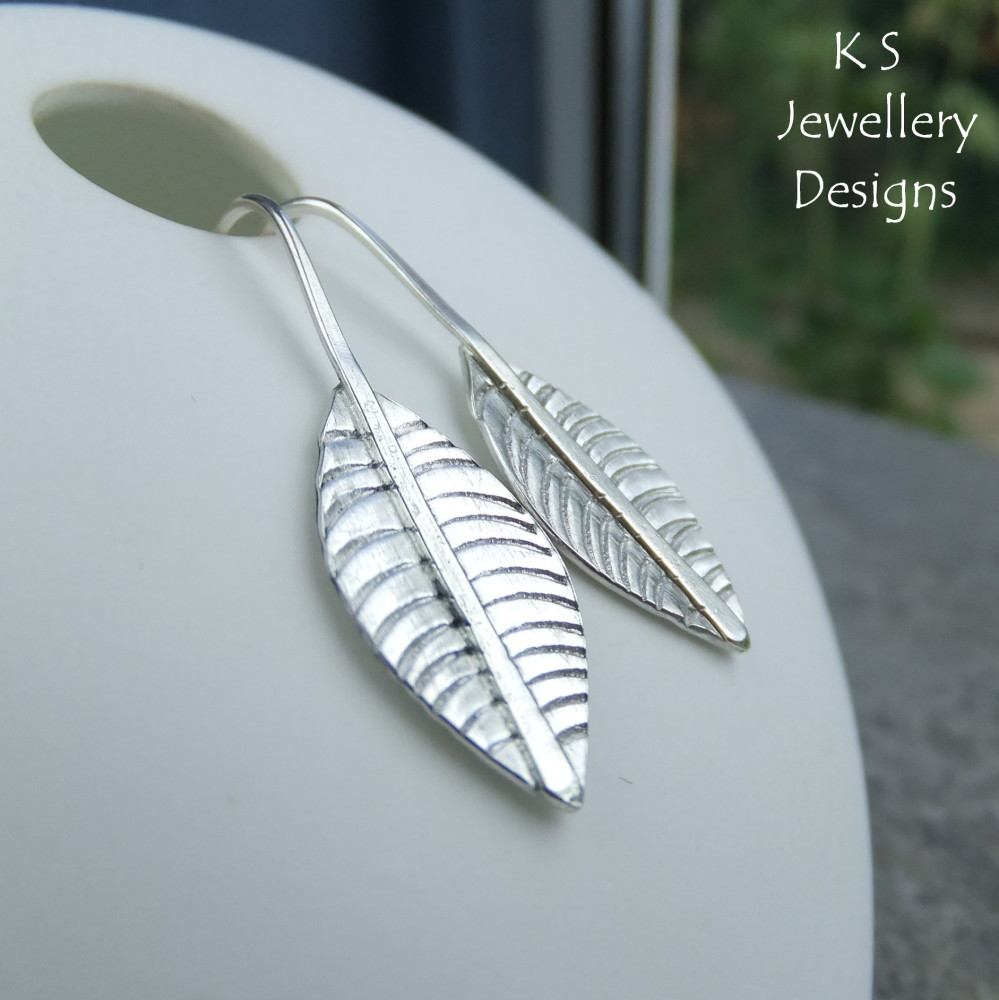 Sterling Silver Textured Leaf Earrings #2