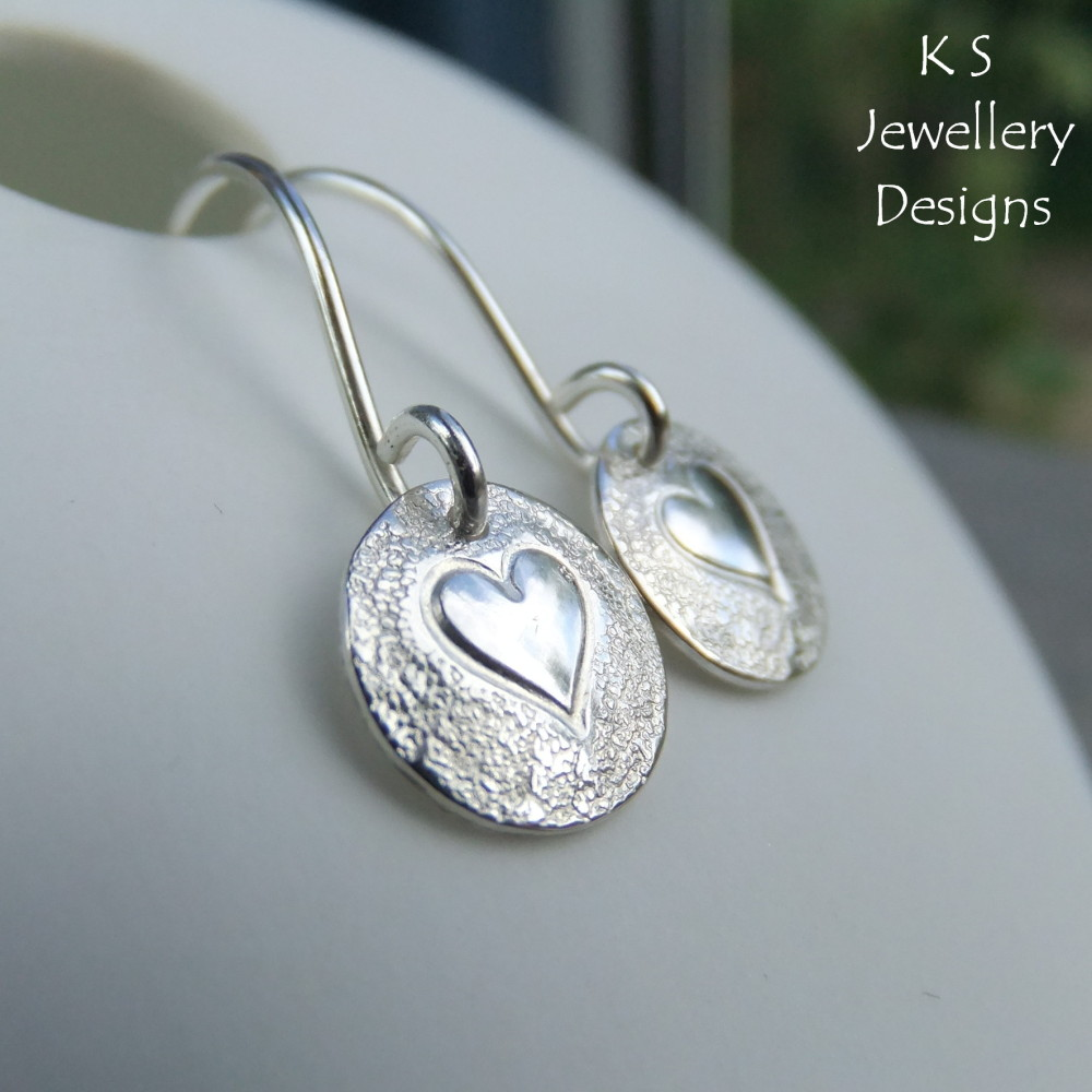 Sterling Silver Stamped Disc Earrings - Hearts