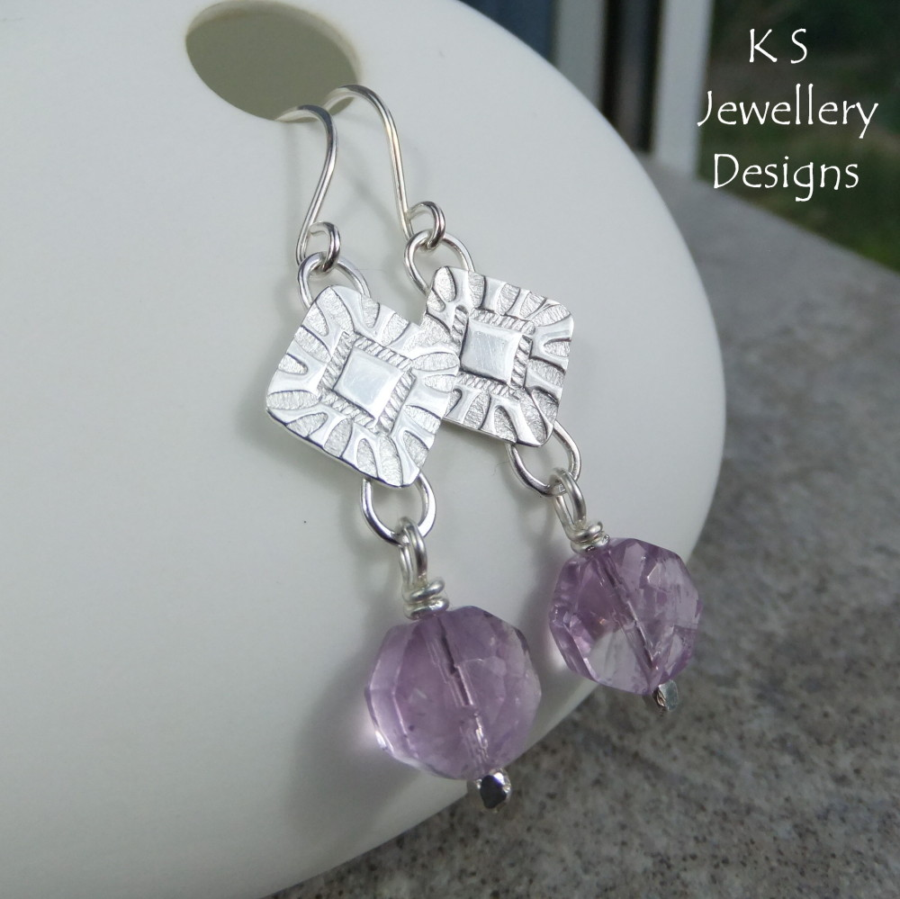 Amethyst Stamped Square Sterling Silver Earrings