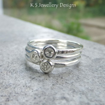 ONE Flower Dot Sterling & Fine Silver Stacking Ring - 3 different types