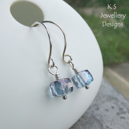 Mystic Quartz Cubes Sterling Silver Hoop Earrings