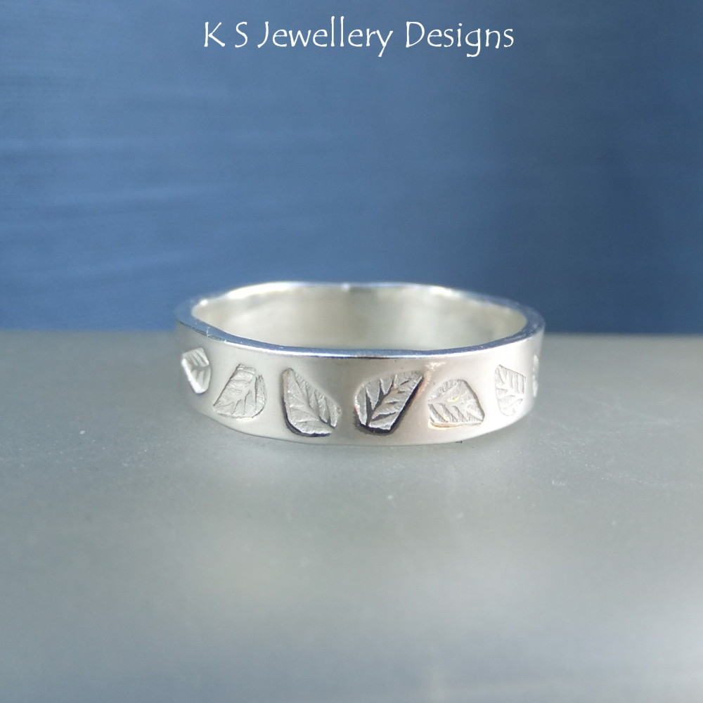 Sterling Silver Textured Wide Band Ring - LEAVES