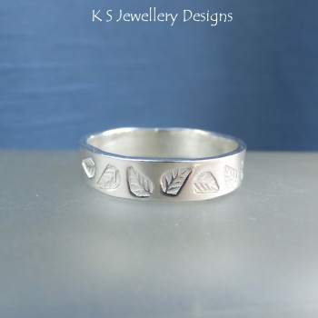 Sterling Silver Textured Wide Band Ring - LEAVES (made to order)