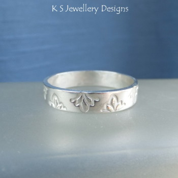 Sterling Silver Textured Wide Band Ring - PETALS (made to order)