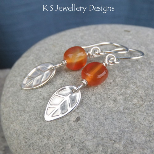 Carnelian Sterling Silver Leaf Earrings - Autumn Leaves