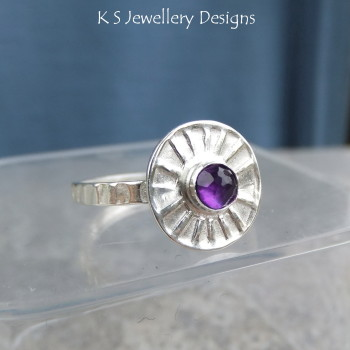 Amethyst sunburst ring 6