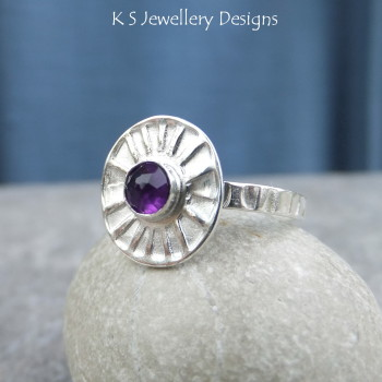 Amethyst Sterling & Fine Silver Sunburst Ring (UK size N1/2 / US size 7)
