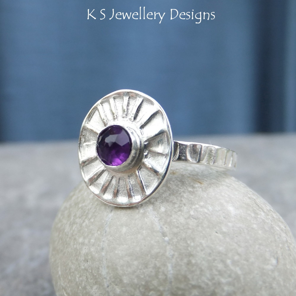 *SALE was £38* Amethyst Sterling & Fine Silver Sunburst Ring (UK size N1/2 / US size 7 can be re-sized slightly larger)