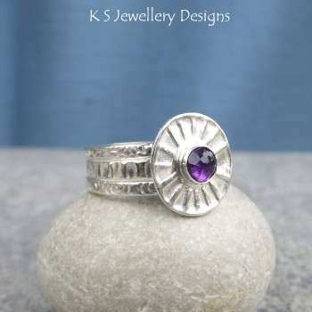 Amethyst sunburst ring 5