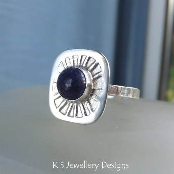 Lapis Lazuli Sterling & Fine Silver Sunburst Ring (UK size O / US size 7.25)