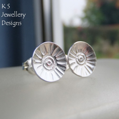 Sterling Silver Stud Earrings - Rustic Flower Discs (Daisy #1)