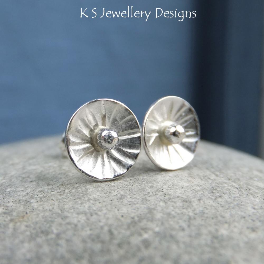 Sterling Silver Stud Earrings - Rustic Flower Discs (Daisy #3)