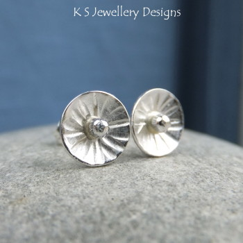 Sterling Silver Stud Earrings - Rustic Flower Discs (Daisy #3)