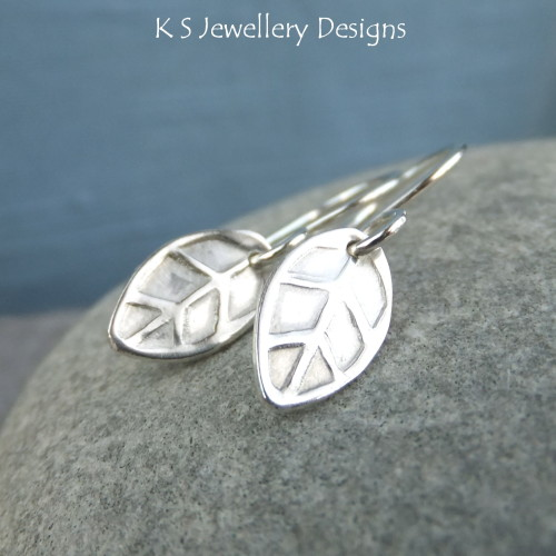Sterling Silver Stamped Leaf Earrings