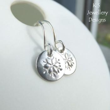 Snowflake Sterling Silver Shiny Disc Earrings