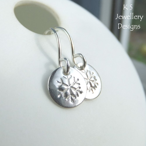 Snowflake Sterling Silver Disc Earrings