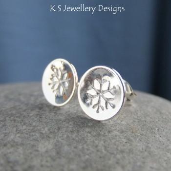 Snowflake Sterling Silver Shiny Stud Earrings