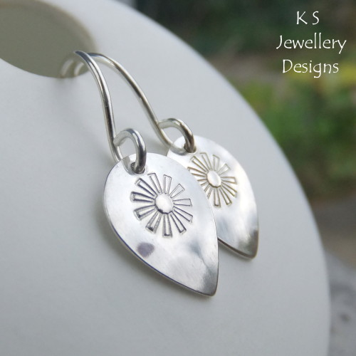 Stamped Flower Drops Sterling Silver Earrings