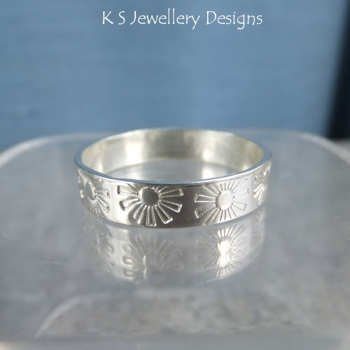 Sterling Silver Textured Wide Band Ring - FLOWERS