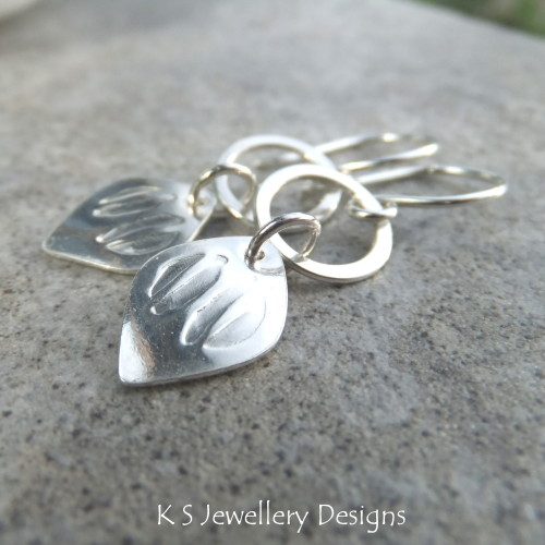 Stamped Drops & Circles Sterling Silver Earrings