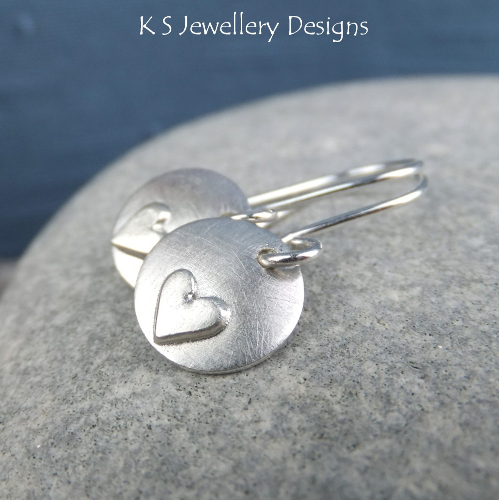 Sterling Silver Heart Charm Disc Earrings - Rustic Hearts