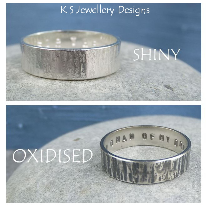 Sterling Silver Unisex Ring - Bark Texture - Shiny or Oxidised - Personalised Stamped Inscription