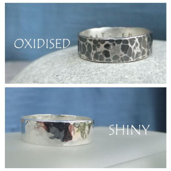 Sterling Silver Unisex Ring - Dappled Texture - Oxidised or Shiny - Personalised Stamped Inscription