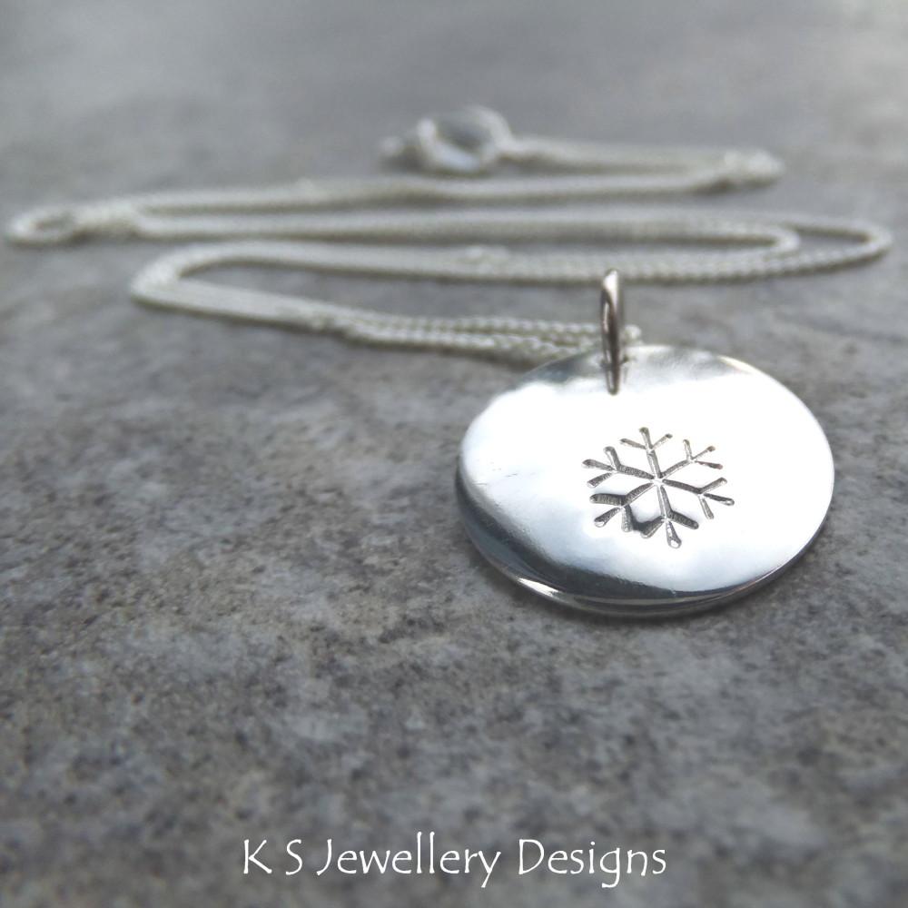 Snowflake Sterling Silver Disc Pendant
