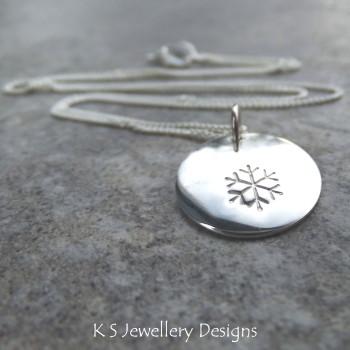 Snowflake Sterling Silver Shiny Disc Pendant