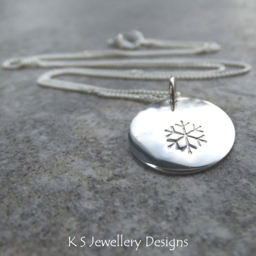 Snowflake Sterling Silver Disc Pendant